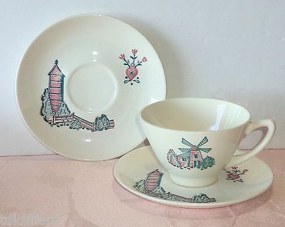 Vintage Marcrest MCR5 Red Barn 3Pcs Cup 2 Saucers Farm Scenes Stetson