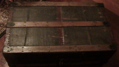 Antique Wood Railroad Trunk Chest - Rare Vintage Peace of Americana