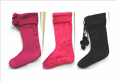 Briers Ladies Knitted Wellington Boot Socks Fleece Liners Festival Adult Wellies