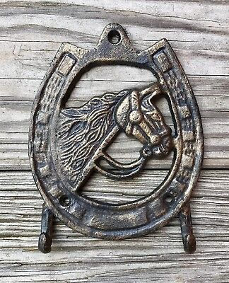 Cast Iron Horse with Horseshoe 2-Hook Vintage Country Towel Rack Holder