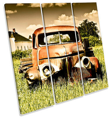 ABANDONED RUSTY OLD Truck TREBLE CANVAS WALL ART Box Framed Print ...