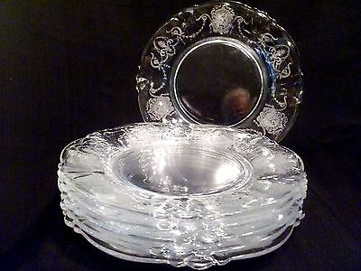 """6 ANTIQUE Clear ETCHED GLASS Heisey MINUET Courting Couple 8"""" QUEEN ANN PLATES"""