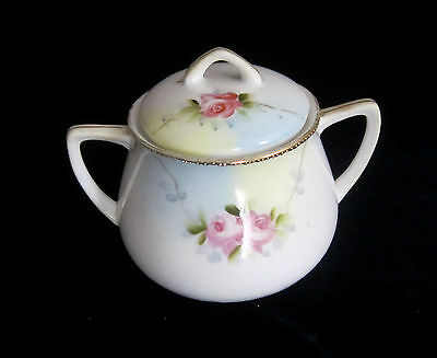 Vintage Nippon Hand Painted Handled Covered Bowl - Pink Rose