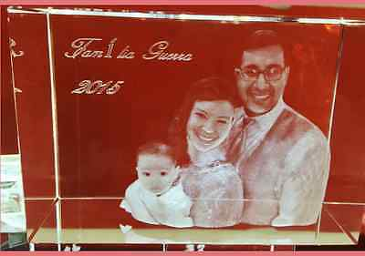 Personalized Custom 3d Laser Engraved Crystal Glass Photo Frame Wedding Large