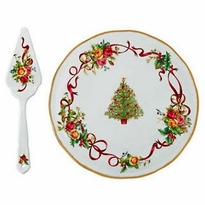 ROYAL ALBERT OLD COUNTRY ROSES Christmas Tree CAKE PLATE & SERVER New in box.