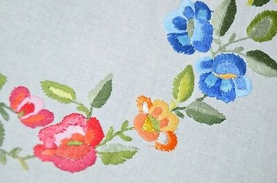 A Spring Pansy Rainbow!  Vintage German Hand Embroidered Tablecloth Mother's Day