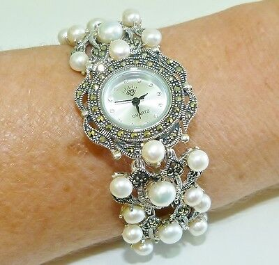 VINTAGE STYLE! Genuine Pearl & Marcasite Bracelet Watch, Solid S/Silver 925!