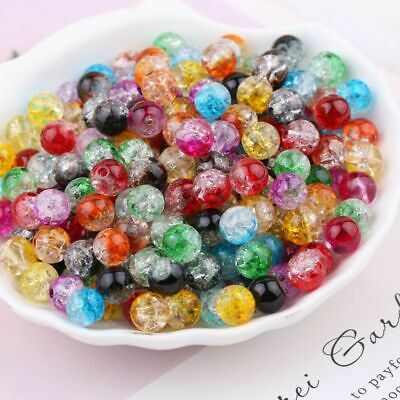 100pcs Mixed Crystal Crack Glass Round Loose Spacer Beads Charm 4/6/8/10/12mm