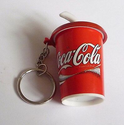 COCA COL Soda Cup with Straw Limited Edition KEYCHAIN Keyring Novelty Coke