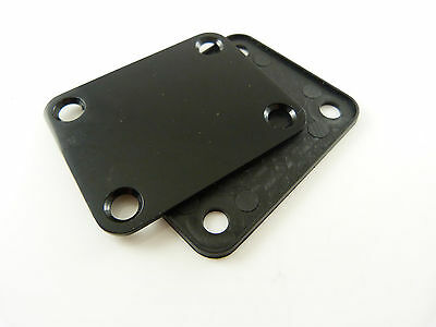 Electric Guitar 4-Hole Neck Plate with Cushion and Screws - Black
