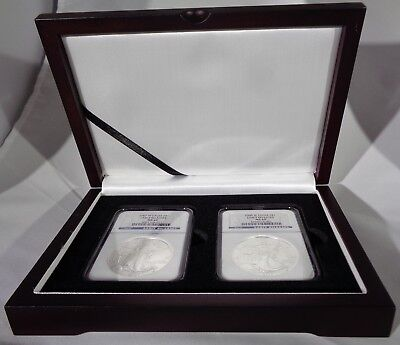 Wood Display Box For 2 Certified Coin Slab NGC, PCGS or ANA - Mahogany Finish