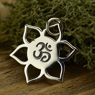 Sterling Silver Lotus Flower Pendant Charm Necklace Chain Yoga Jewelry Ohm 1194
