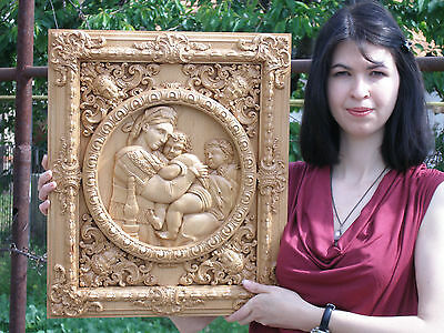 "20"" MADONNA OF THE CHAIR Rafael  Icon 3D Orthodox Wood Carved Russian"