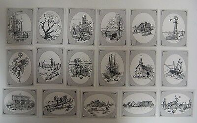 Vintage Lot of 18 WESTERN KANSAS SKETCHED Note Cards Sets Wheat Barn Stonepost