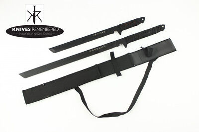"2PC SET Full Tang 27"" & 18"" Tanto Ninja Samurai Katana Sword Knife Blade Machete"