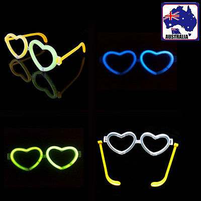 2 Pairs Heart Shaped Glow Stick Glasses Party Glowing In the Dark GHGLG1287x2