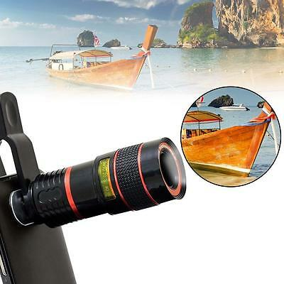 Black 8X Zoom Magnifier Optical Telescope Camera Lens w/Clip for Mobile Phone TR