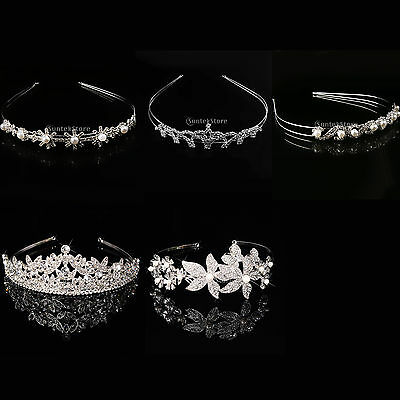 Wedding Bridal Crystal Rhinestone Headband Crown Tiara Hair Accessories Silver
