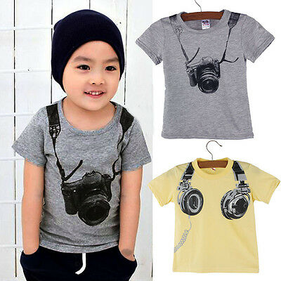 Summer Children Kids Boy Printed Cotton Short Sleeve Tops O Neck T Shirt Blouses