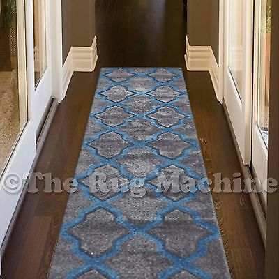 RENEE BLUE GREY MOROC TRELLIS DESIGN TRENDY FLOOR RUG RUNNER 80x400cm **NEW**