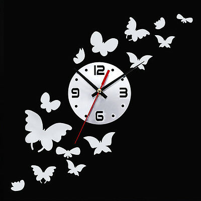 Removable DIY Butterfly 3D Mirror Wall Sticker Clock Home Room Decoration