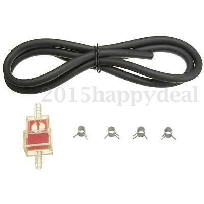 Motorcycle Scooter 6mm Gas Inline Fuel Filter & Petrol Pipe Hose Line W/ 4 Clips