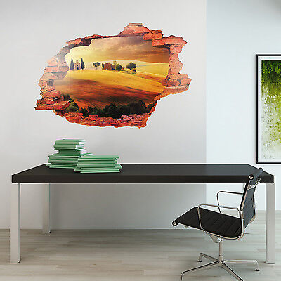 View Italy Art 3D Mural Décor Home Decoration Wall Sticker Tuscany 90cm x 60cm