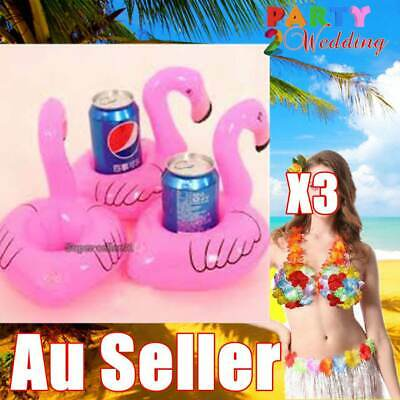 3 x Pink Flamingo Inflatable Mini Drink Holders Floating Toy Pool Can Party Bath