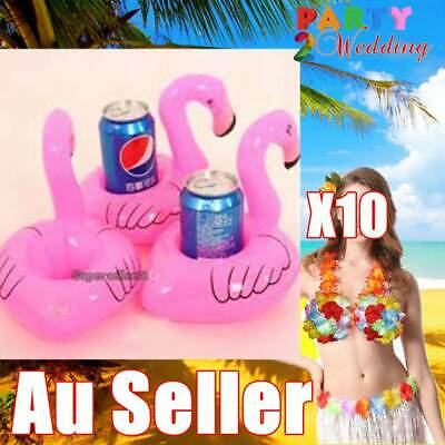 10x Pink Flamingo Inflatable Mini Drink Holders Floating Toy Pool Can Party Bath