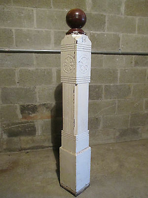 ~ Antique Carved Walnut Newel Post With Finial 56 Inch ~ Architectural Salvage ~