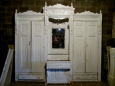 Antique Carved Oak Closet Front Built In Armoire 117 X 107 Architectural Salvage