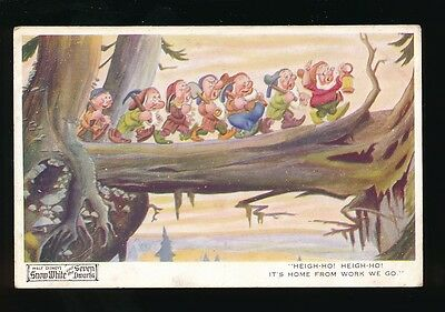 WALT DISNEY Snow White Heigh Ho Dwarfs c1930s Valentine #4169 PPC