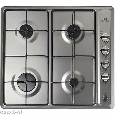 New World NWGHU601/SS - Stainless Steel Hob 4-Way Gas Burner For Mains or LPG