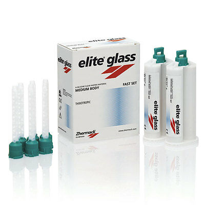 ELITE GLASS ZHERMACK FAST SET 2x50ml. DENTAL SILICONE SILICONA.