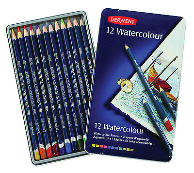 Derwent Watercolour 12 Tin - Set of Water Soluble Assorted Colour Pencils