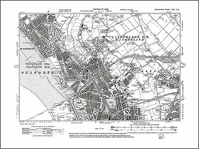 Old map of Waterloo, Seaforth, Litherland, Orrell, Lancs 1909: 99SW repro