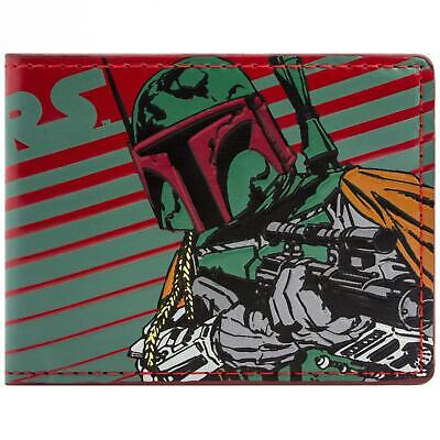 New Official Awesome Boba Fett Bounty Hunter Red & Green Striped Bi-Fold Wallet