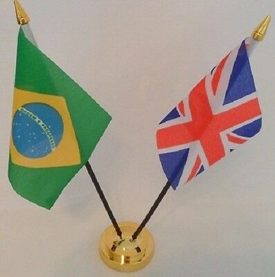 Brazil Brazilian Union Jack Friendship 2 Flag Flags Table Display Centrepiece