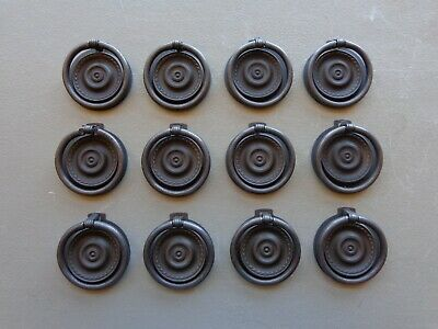 Set of 12 Arts & Crafts Style Matte Black Two Part Round Cabinet Drop Ring Pulls
