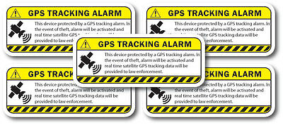 WARNING GPS TRACKING decal 5 pack Yellow Anti-Theft sticker iphone, smart phone