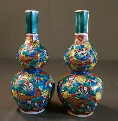 Very Fine Pair of Japanese 1860 Meiji Period Kutani Mokubei Double Gourd Bottles