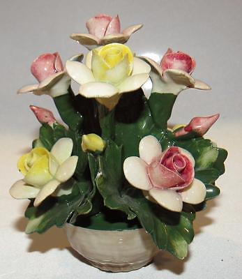 NUOVA IIE EXCLUSIVE CAPODIMONTE ITALY FLORAL ROSE BASKET N w CROWN PORCELAIN