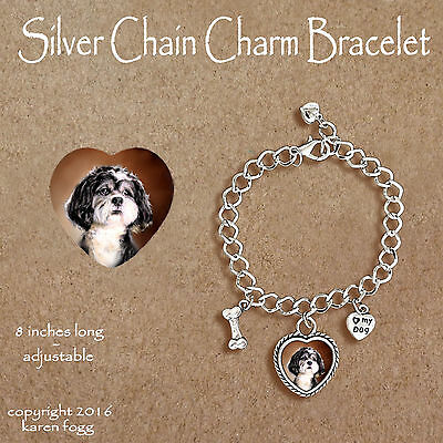 SHIH TZU DOG Pet Cut- CHARM BRACELET SILVER CHAIN & HEART