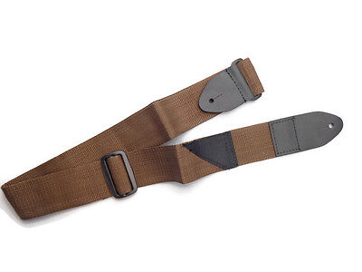 Guitar Strap For Acoustic & Electric Brown Nylon Thick Leather Ends USA Seller