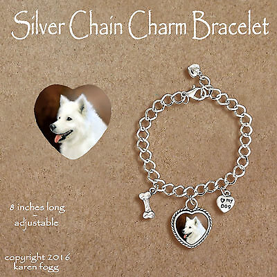 Samoyed Dog - Charm Bracelet Silver Chain & Heart