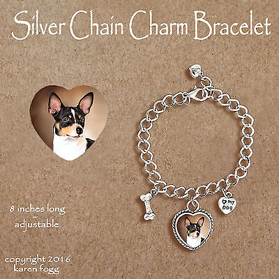 Rat Terrier Dog - Charm Bracelet Silver Chain & Heart
