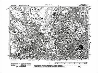Old map of Manchester (NW), Salford, Lancs 1909: 104NW repro