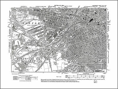 Old map of Manchester (SW), Salford, Lancs 1909: 104SW repro