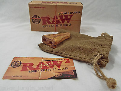Raw Brand Double Barrel Wooden Cigarette Holder NIB