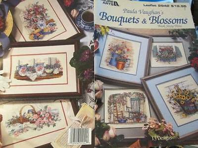 Paula Vaughan Bouquets & Blossoms Cross Stitch Book#63-13 Designs